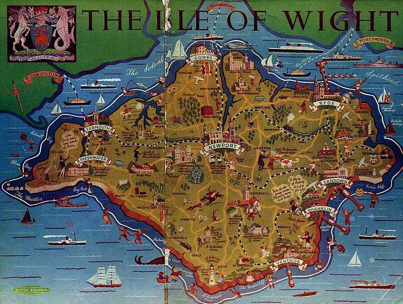 Isle of Wight: Southern Region Railway map